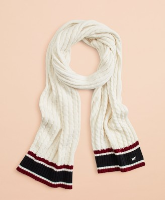 Brooks Brothers Striped Cable-Knit Wool-Cotton Scarf