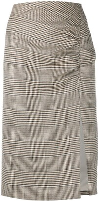 Veronica Beard Ruched Plaid Pencil Skirt