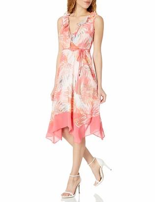Sandra Darren Women's 1 Pc Sleeveless High Multi Chiffon Uneven Hem Dress