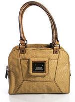 Rachel Roy Light Brown Embossed Leather Pewter Tone Satchel Handbag