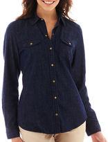 Liz Claiborne Long-Sleeve Snap-Front Denim Shirt