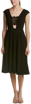 ABS by Allen Schwartz Women's T-Length Crepe Dress with Lace Inserts