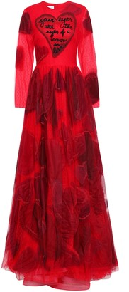Valentino Embellished Appliqued Point D'esprit Gown