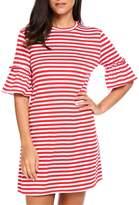 Kancystore Women Crew Neck Short Sleeve Striped Loose T-Shirt Mini Dress (XL, )