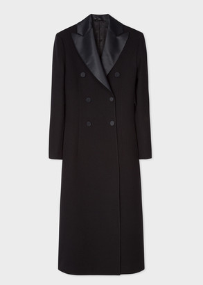 Paul Smith Women's Black Double-Breasted Wool Tuxedo Opera Coat With Satin Lapel