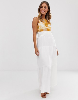 Asos Design DESIGN cheesecloth tiered summer maxi skirt-White