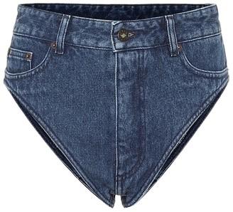 Y/Project Cotton-denim high-rise shorts
