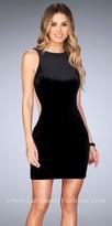 La Femme Velvet Illusion Side Panel Open Back Homecoming Dress