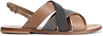 Brunello Cucinelli Beaded Leather Sandals