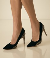 Reiss Mia - Snake Detailed Suede Court Shoes in Black