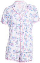 Hanes Ivory Floral Button-Up & Shorts Pajama Set