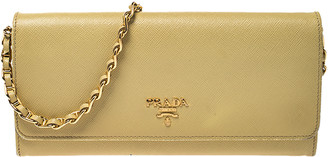 Prada Yellow Saffiano Metal Leather Wallet on Chain