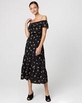 Le Château Floral Print Off-the-Shoulder Ruffle Dress