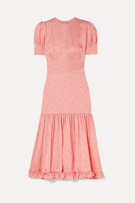The Vampire's Wife Hummingbird Ruffled Satin-jacquard Midi Dress - Blush
