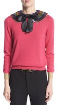 Gucci Cashmere Silk Knit Top with Detachable Collar, Pink