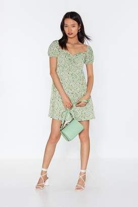 Nasty Gal Womens Where Love Grows Floral Puff Sleeve Dress - green - 6