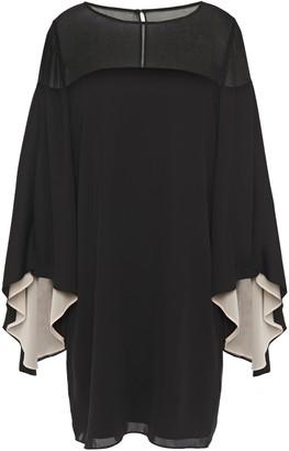 Halston Georgette-paneled Draped Cady Mini Dress