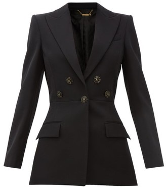 Givenchy Flared Flocked-button Wool-crepe Suit Jacket - Womens - Black