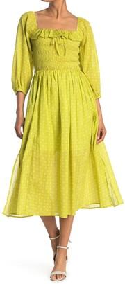 MelloDay Floral Smocked Ruffle Midi Dress