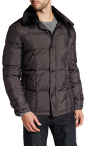 Kenneth Cole New York Front Zip Faux Fur Trim Jacket