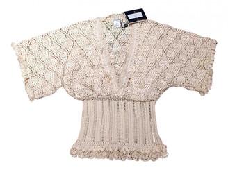 Oscar de la Renta Beige Silk Knitwear
