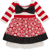 Rare Editions Stripe & Pattern Big Bow Dress, Toddler & Little Girls (2T-6X)