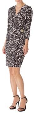 Anne Klein Faux-Wrap Leopard-Print Dress