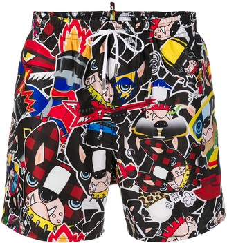 DSQUARED2 Dogs Print Swim Shorts