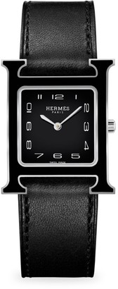Hermes Heure H 26MM Lacquered Stainless Steel & Leather Strap Watch