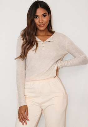 Missguided Stone Sheer Knitted Grandad Top