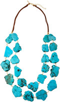 Panacea Double-Row Howlite Nugget Necklace, Turquoise