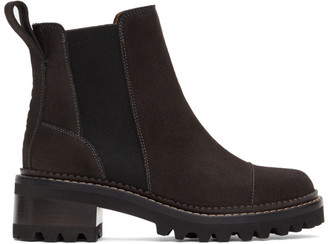 See by Chloe Black Suede Mallory Ankle Boots