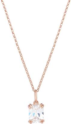 One And One Studio Emerald Cut Diamond Crystal Rose Gold Pendant Necklace On Chain