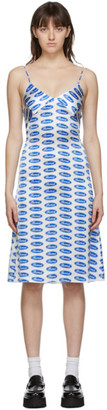 Ashley Williams White and Blue Silk Bored Slip Dress