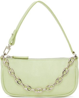 BY FAR SSENSE Exclusive Green Lizard Mini Rachel Bag