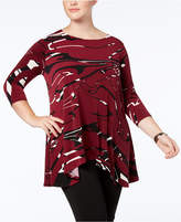 Alfani Plus Size Asymmetrical-Hem Tunic, Created for Macy's