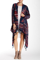 Angie Printed Cascade Open Front Cardigan