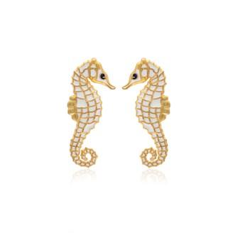 Milou Jewelry Seahorse Earrings - White