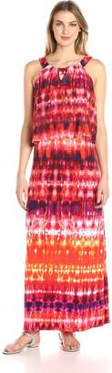NY Collection Women's Printed Cleo Neck Popover Dress