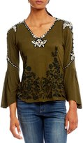 Lucky Brand Embroidered Bell Sleeve Top