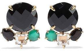 Bounkit 14-karat Gold-plated, Onyx And Quartz Earrings
