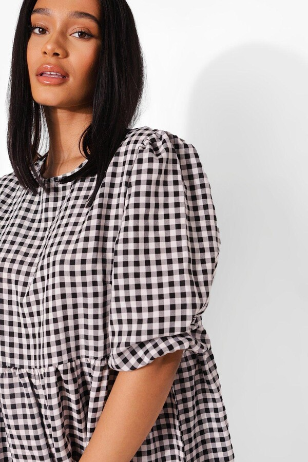 Thumbnail for your product : boohoo Gingham Puff Sleeve Frill Hem Midi Smock Dres