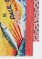 Paul Smith Men's Yellow 'Mackerel' Print Tubular Silk-Blend Scarf