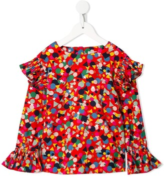 Stella Mccartney Kids Shape-Print Frilled Blouse