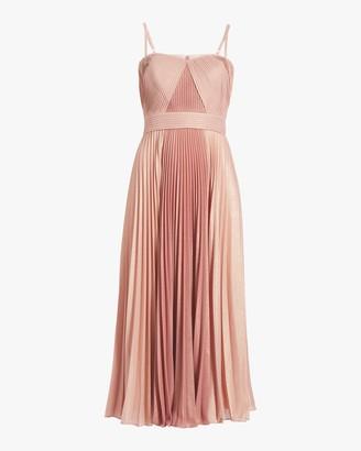 Marchesa Notte Pleated Metallic Tea-Length Dress