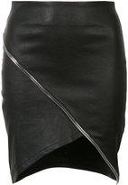 RtA asymmetric zip-detail skirt - women - Lamb Skin - 4