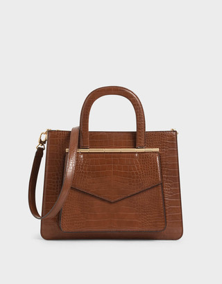 Charles & KeithCharles & Keith Croc-Effect Structured Tote Bag