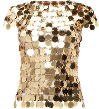 Paco Rabanne Chainmail Sequin Top - Womens - Gold