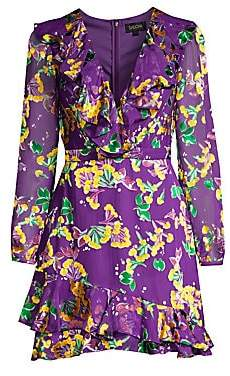 Saloni Women's Jodie Silk-Blend Floral Dress - Size 0
