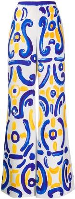 Moschino Majolica-print wide-leg trousers